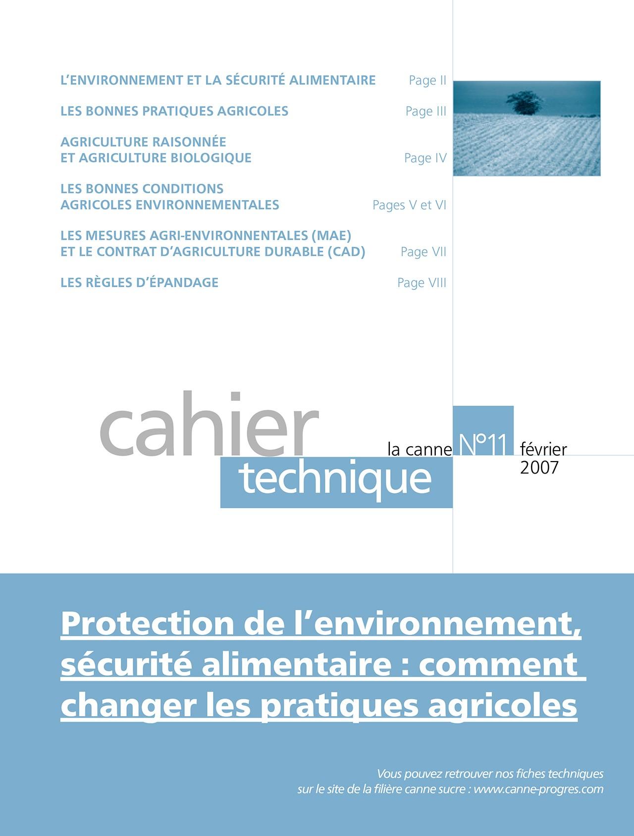 Cahier technique : Protection de l'environnement, sécurité alimentaire, comment changer les pratiques alimentaires