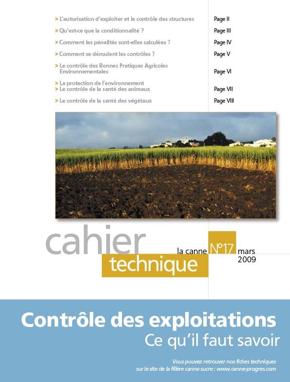Cahier technique N°17 : Contrôle des exploitations, ce qu'il faut savoir