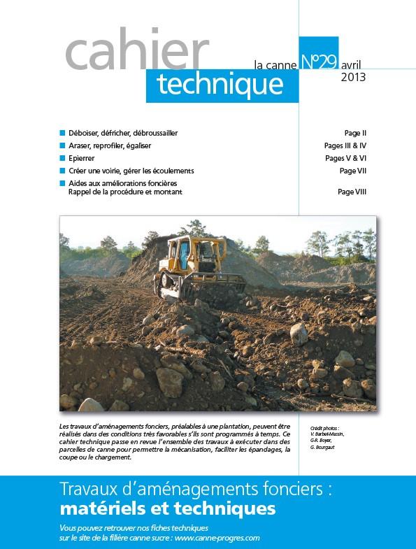 Cahier technique N°29 : Travaux d'aménagements fonciers : matériels et techniques